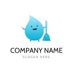 Adorable Drop and Blue Broom logo design