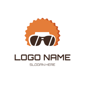 Afro Hairstyle and Sunglasses Hipster logo design