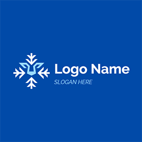 Antler Tree Snowflake Ice logo design