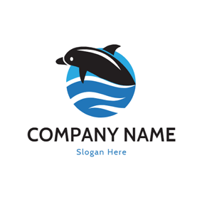 Aquarium and Black Dolphin logo design