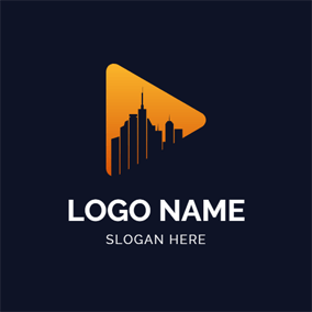 Architecture and Vlog Play Button logo design
