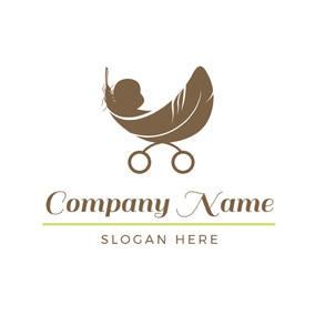 Baby Carriage and Cute Baby logo design