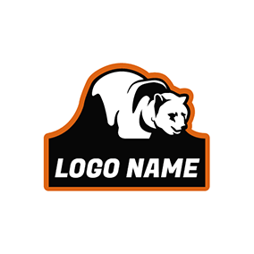 Badge and Bear Mascot Icon logo design