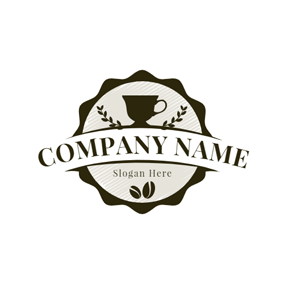 Badge and Coffee Mug logo design