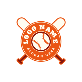 Badge and Cross Baseball Bat logo design