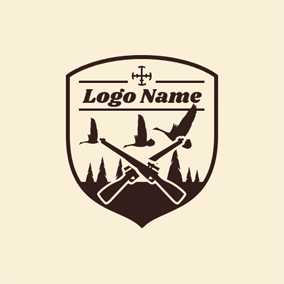 Badge and Cross Gun logo design
