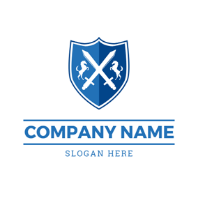 Badge and Cross Sword logo design