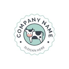 Badge and Cute Dairy Cow logo design