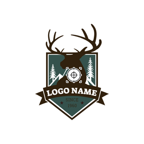 Badge and Deer Head logo design