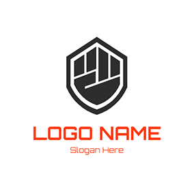 Badge and Fist logo design