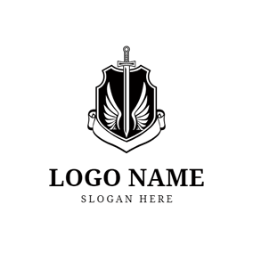 Badge and Flat Sword logo design