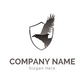Badge and Fly Raven logo design