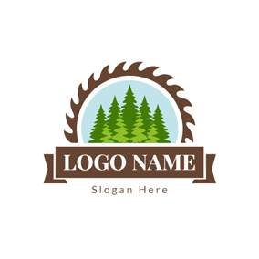 Badge and Green Tree logo design