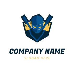 Badge and Ninja Icon logo design