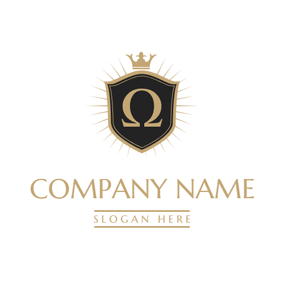 Badge and Omega Symbol logo design
