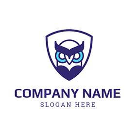 Badge and Owl Head Icon logo design