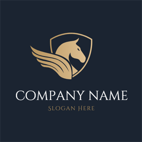 Badge and Pegasus Head logo design