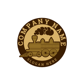 Badge and Retro Train logo design