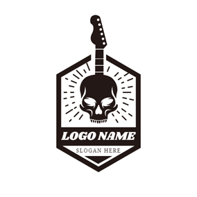 Badge and Rock Guitar logo design