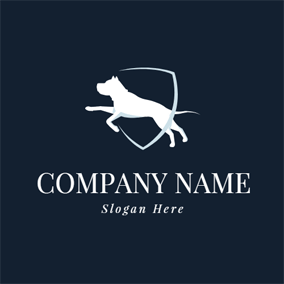 Badge and Running Dog logo design
