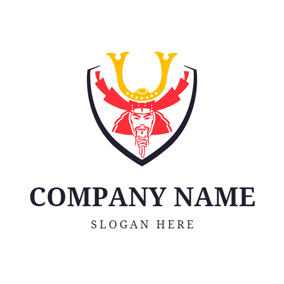 Badge and Samurai Head logo design