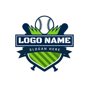 Badge and Softball Bat logo design