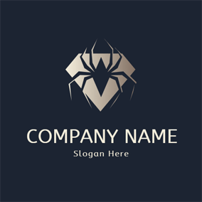 Badge and Spider Icon logo design