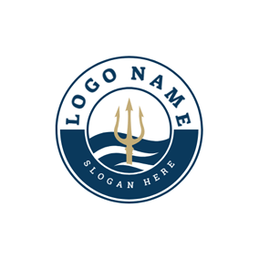 Badge and Trident Symbol logo design
