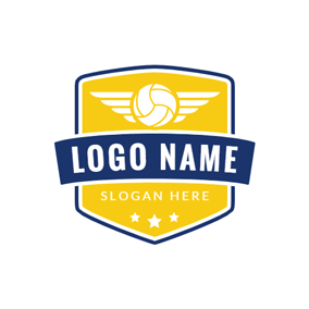 Badge and Volleyball Icon logo design