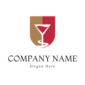 Badge and Wine Glass logo design