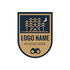 Badge and Yellow Tree logo design