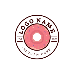 Badge and Yummy Doughnut logo design