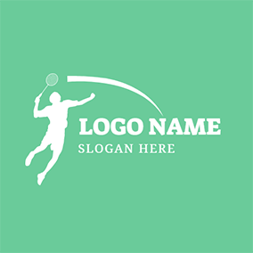 Badminton Bat and Player logo design