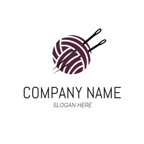 Ball Of Yarn and Needle logo design