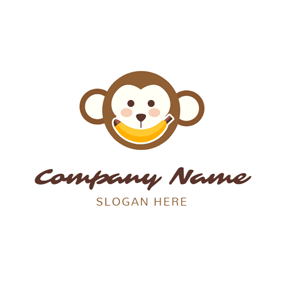 Banana and Monkey Face logo design