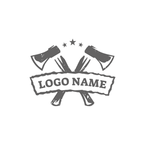 Banner and Cross Axe logo design