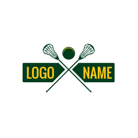 Banner and Cross Lacrosse Stick logo design