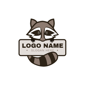 Banner and Cute Raccoon logo design