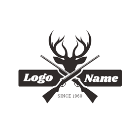 Banner and Deer Head logo design