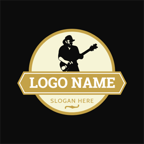 Banner and Guitar Singer logo design