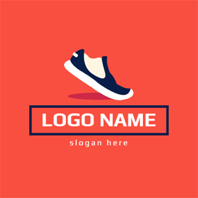 Banner and Sneaker Shoe logo design