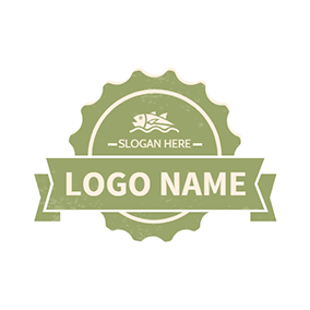 Banner Fish Simple Stamp logo design