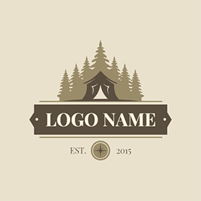 Banner Forest Tent Camping logo design