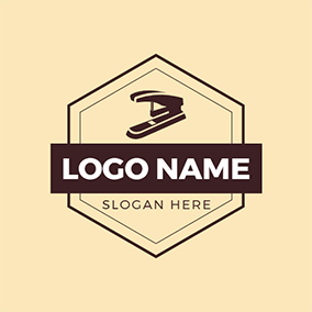 Banner Hexagon Stapler Stationery logo design