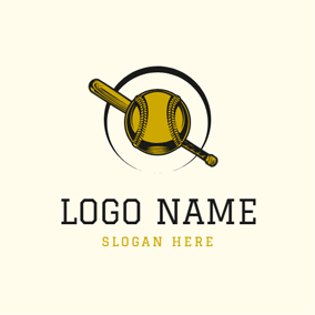 Baseball Bat and Ball logo design