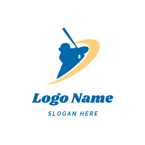 Baseball Bat and Baseball Player logo design