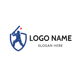 Batsman Playing Cricket logo design
