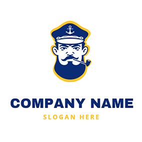 Beard Tobacco Pipe and Captain logo design