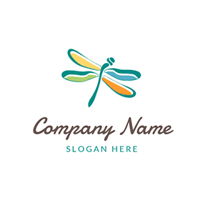 Beautiful and Colorful Cartoon Dragonfly logo design