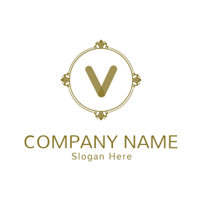 Beautiful Brown Letter V logo design